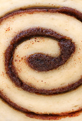 Macro of cinnamon bun swirl with selective focus on center.
