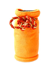 orange moneybox in the form of a bag