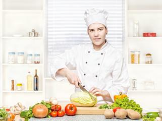 female chef preparing meal