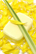 Handmade Soap and yellow flower peals with leaf