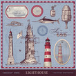 vector set: lighthouse - vintage nautical design elements