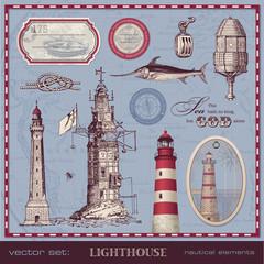 vector set: lighthouse - vintage nautical design elements