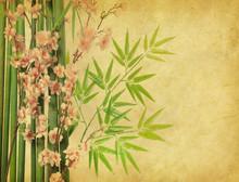 fleur de bambou et prune sur la texture de vieux papier antique