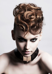 Fancy dress party - fashion festive woman face. Bright hairstyle