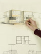 woman's hand drawing architectural sketch of house