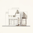 architectural facade blueprint of a modern house
