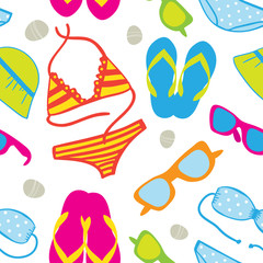 Seamless  with bikini sets, sunglasses, flip-flops and sun hats