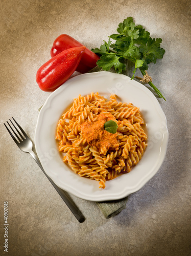 Fusilli with pepper cream sauce, healthy food