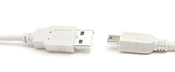 Usb to mini-usb cable isolated.