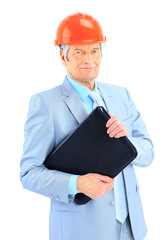 Good engineer holds the portfolio. Isolated on a