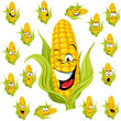sweet corn cartoon with many expressions
