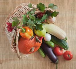 Fresh vegetables in a wicker basket