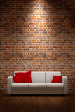 Sofa with brickwall