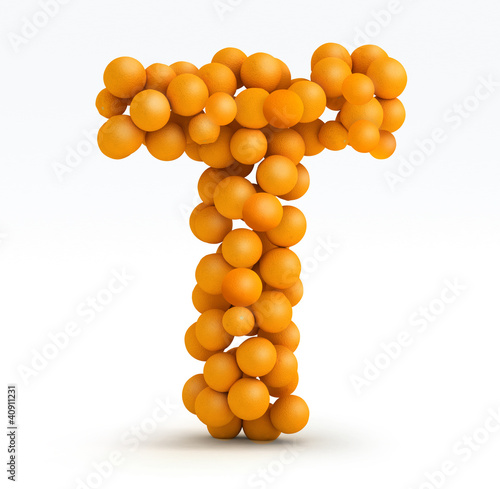 Letter T, font of orange citrus, white background