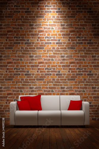 Sofa with brickwall