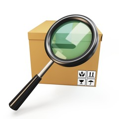3d parcel box with magnifying glass