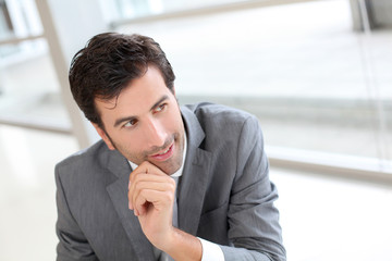 Portrait of businessman in modern building