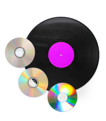 Black vinyl record and CD disks isolated on white