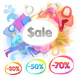 Sale vector background with bags, shoes and perfume.