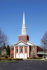 Elegent church building against blue sky