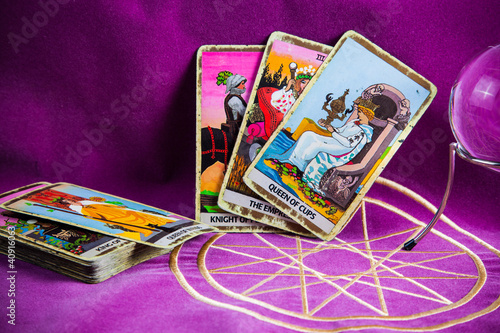 Tarot cards with the crystal ball.