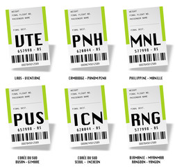Airport tag bags - Laos, Philippine, Myanmar, Cambodge, Corée