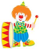 Circus clown drummer poster