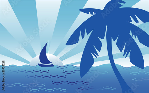Tropical Seaside Landscape, sailboat, palm tree, ocean breeze.