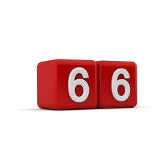 Red 3D block with number sixty six