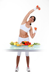 Healthy eating and weight-lifting exercises