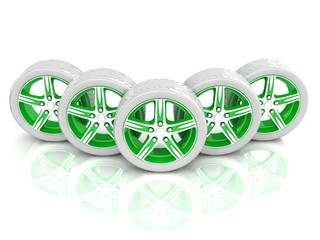 5 green and white wheels