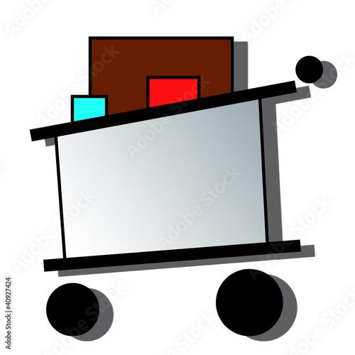 Logo caddie commerce, supermarché, hypermarché avec ombre
