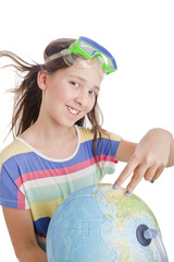 school age girl with globe