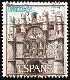 Postage stamp Spain 1965 Facade of Cathedral of Santa Maria, Bur poster