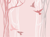 Fototapety Abstract forest with trees silhouettes and flying birds