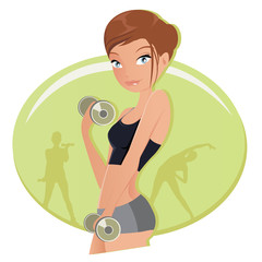Illustration of a fitness woman working out