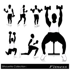 Editable vector silhouettes of people exercising in the gym