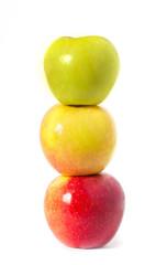 three colour apples on white
