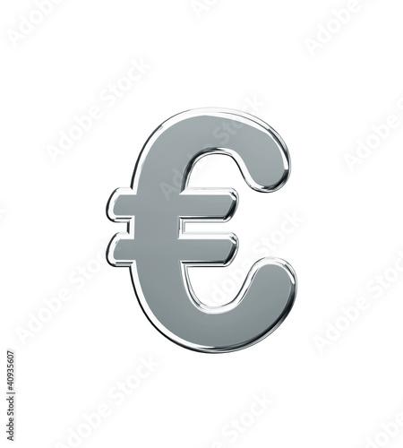 glänzendes silbernes Eurozeichen
