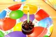 Chocolate Birthday Cupcake - Yellow