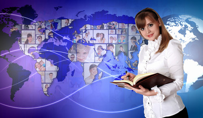 Young woman against world map background