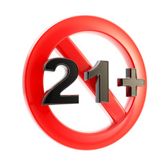 Age limit (21 ) round symbol isolated