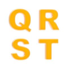 Abc set of four glossy orange plastic letters