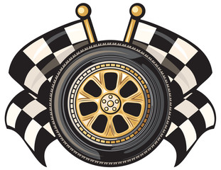 wheel and two crossed checkered flags
