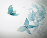 Fototapety Azure Flowers like Butterflies / Surreal sketch