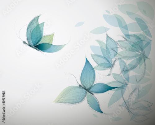 Kwiaty Azure przypominają motyle / surrealistyczny szkic
