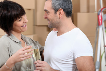 Couple toasting during moving