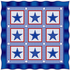 Star Quilt, traditional red, white, blue patriotic pattern
