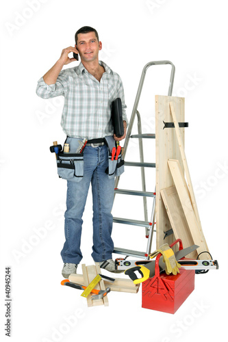 Handyman talking to a supplier