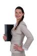 Confident employee on white background